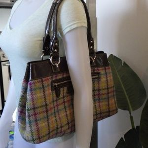 Coach Shoulder Bag Purse Brown Patent Multi Wool